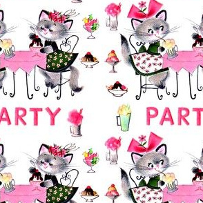 cats kittens ice cream banana splits sundae milkshakes party sweets candy candies flowers party desserts vintage retro kitsch food flowers ribbons