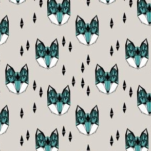 fox // geometric fox head kids geometric boys grey and blue nursery baby