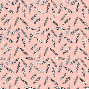 Inky Feathers fabric //- (Smaller Version) Pale pink by Andrea Lauren
