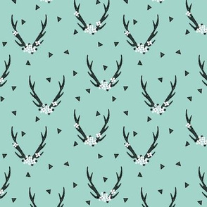 antlers // flowers girls triangle mint antlers kids baby