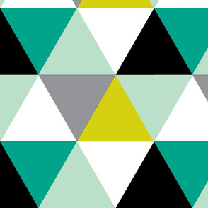 Shades of Teal Triangle Cheater Quilt - Triangle Baby Blanket