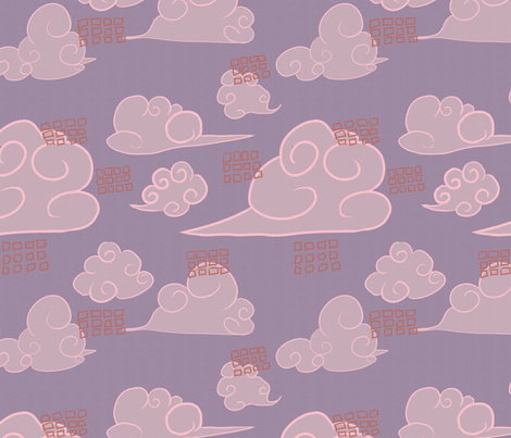 clouds-pink fabric by ineffectivecarnivore on Spoonflower - custom fabric