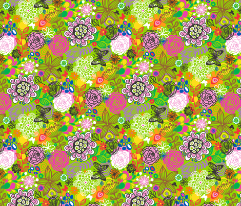 Floral Doodle with butterfly fabric by caja_design on Spoonflower - custom fabric