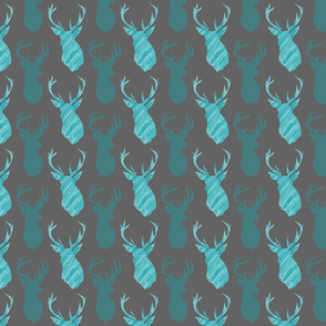 Stag Head Stagger Teal on Grey