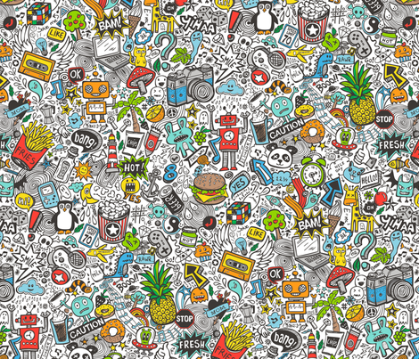 Comic Pop art  Doodle Color fabric by caja_design on Spoonflower - custom fabric