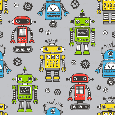 Cute Robots on Gray