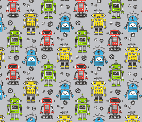 Cute Robots on Gray fabric by caja_design on Spoonflower - custom fabric
