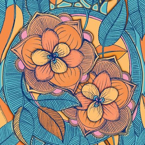 Tangerine and Teal Magnolia Doodle