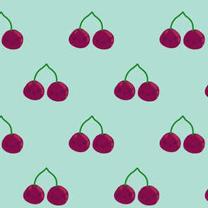 Smiling cherries - blue