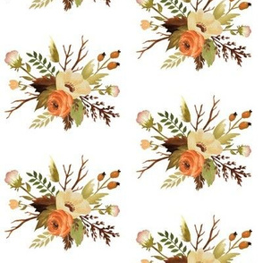 Autumn Floral Posy on White, 4 inch scale