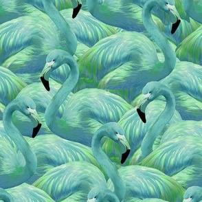 Half Scale Flamingo Fever in Blue and Green
