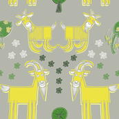 Green, Yellow, and Grey Goats