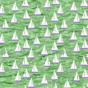 Sailboats, Whales & Waves in Green and Purple