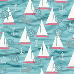 Sailboats, Whales in Aquas and Pinks