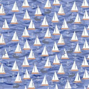 Sailboats in Dark Blue/Purple tones