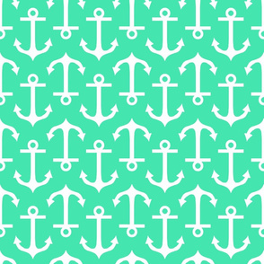 Large Anchor Sea Green and White