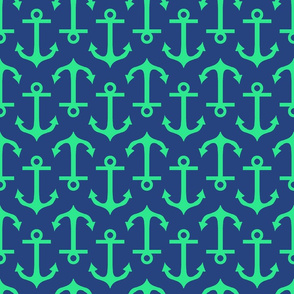 Large Anchor Navy and Sea Green
