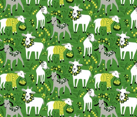 Little Goats in the Garden fabric by robinpickens on Spoonflower - custom fabric