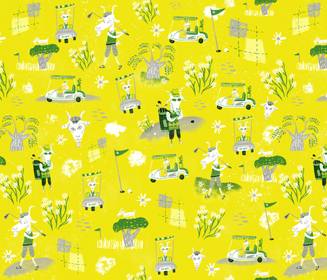 Goats on the green fabric by skbird on Spoonflower - custom fabric