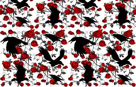 RAVENS  ROSES fabric by bluevelvet on Spoonflower - custom fabric