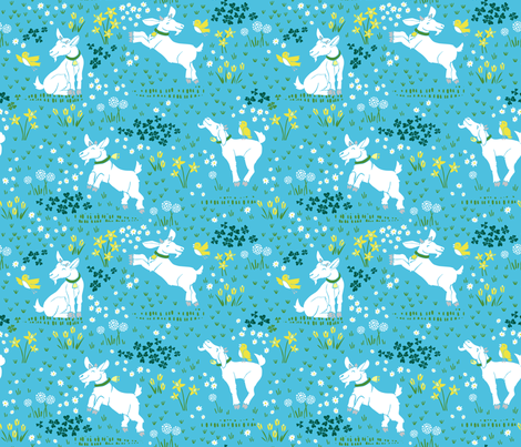 Tiptoe Through the Tulips - Blue fabric by pinky_wittingslow on Spoonflower - custom fabric