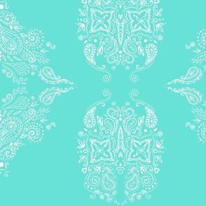 Turquoise paisley mehndi swirl