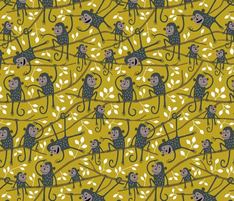 Monkey jungle tree mustard fabric by heleen_vd_thillart on Spoonflower - custom fabric