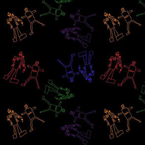 Colorful Giggling Robots with a black background