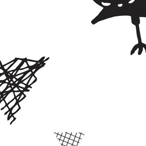 Cute scandinavian black and white blackbird birds illustration print and geometric details XL