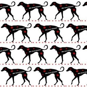 Greyhound Loves Kisses Black White Red