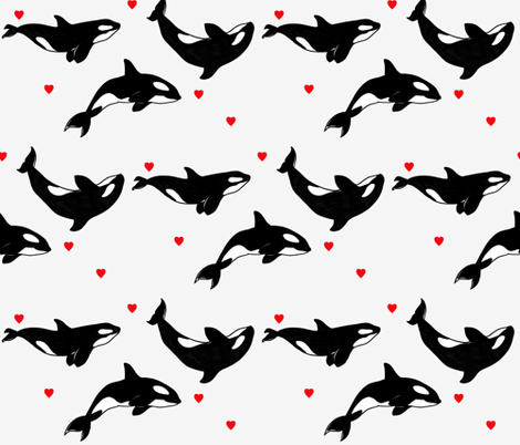 Killer Whales + Hearts fabric by taraput on Spoonflower - custom fabric