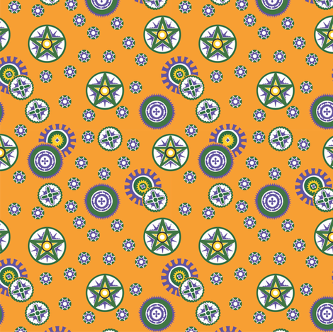 Coconut_shells_orange fabric by malolo on Spoonflower - custom fabric