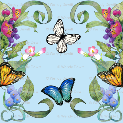 butterfly baroque aqua