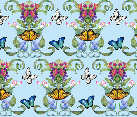 butterfly baroque aqua fabric by golders on Spoonflower - custom fabric