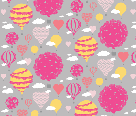 Doily Balloons (Pink) fabric by sarahcatherinedesignsinc on Spoonflower - custom fabric