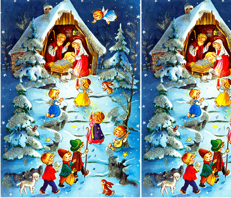 merry christmas nativity jesus christ joseph mary manger lambs sheep cherubs angels trees rabbits birds music