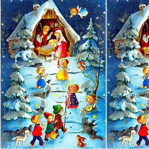 Merry Christmas Nativity Jesus Christ Joseph Mary manger lambs sheep cherubs angels trees rabbits birds music mandolin 3 wise men snow winter stars