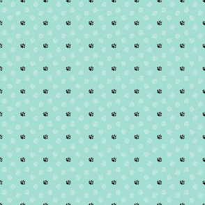 Trotting paw prints - white on mint with black
