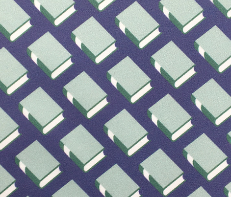 Powell* (Blue on Jackie Blue) || book library literary reading geometric stripe graphic minimalist preppy