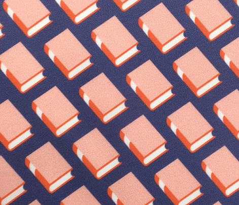 Powell* (Red on Jackie Blue)    book library literary reading geometric stripe graphic minimalist preppy