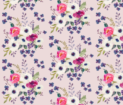 Boho Purple & White / Pink Background fabric by shopcabin on Spoonflower - custom fabric