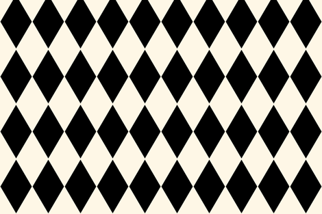Harlequin Diamonds ~ Cosmic Latte and Black fabric by peacoquettedesigns on Spoonflower - custom fabric