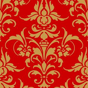 The Joan Damask ~ Gilt Sand on Richelieu Red