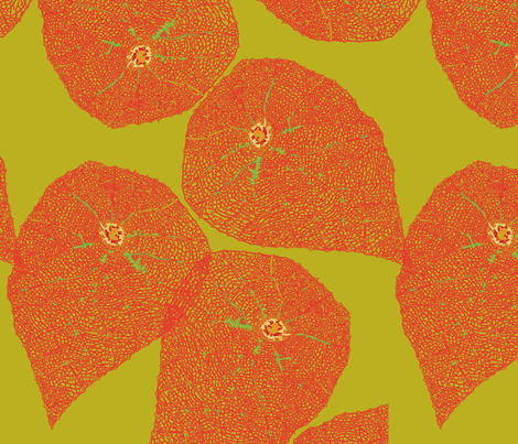 Leaf lace lime orange fabric by soulvintagetraders on Spoonflower - custom fabric