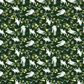 Yellow Chalk and White Paper Goats - Dark Green