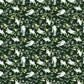 White Chalk and Paper Goats - Dark Green