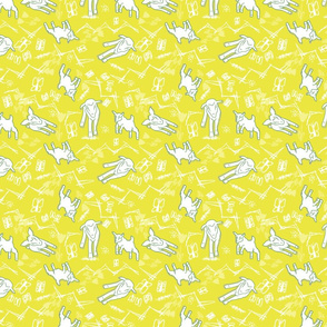 White Chalk and Paper Goats - Dark Yellow