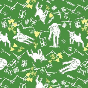 White Chalk and Paper Goats - Green
