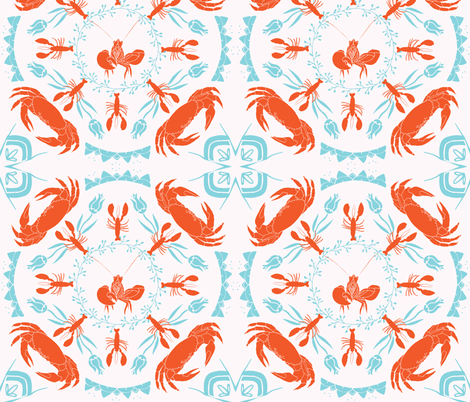 Nautical Mandala - Orange | White | Turquoise fabric by onelittleprintshop on Spoonflower - custom fabric
