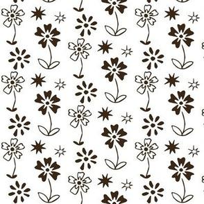 Dark Brown Retro Floral Coordinate